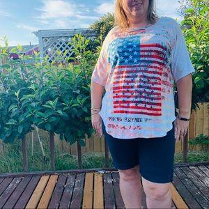 2X Plus size America Flag Shirt 4Th Of July